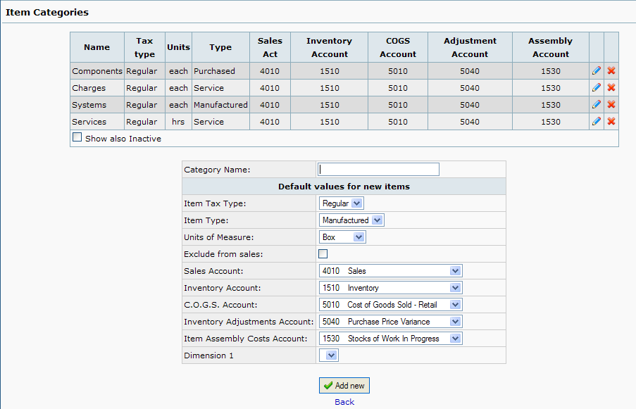 web accounting, item categories