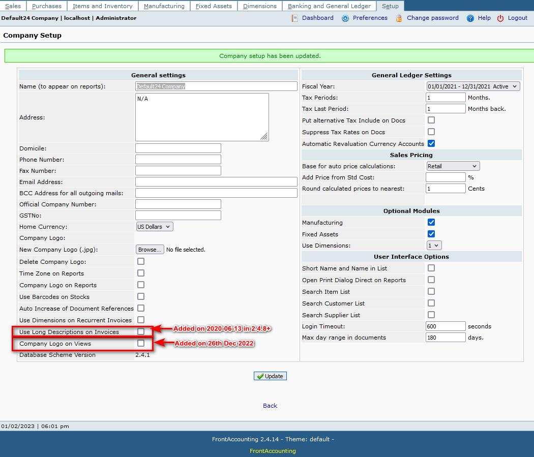 web accounting, company setup