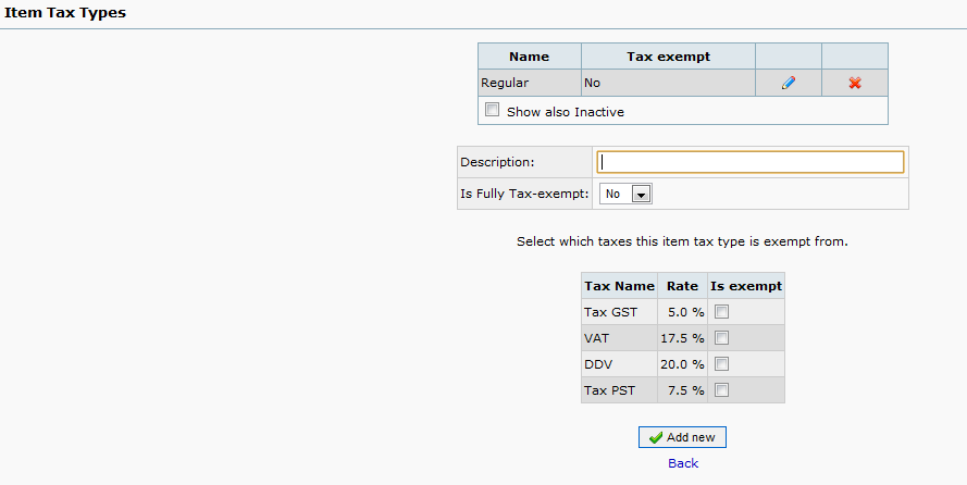 web accounting - tax configuration